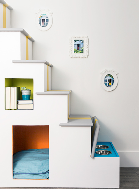 Text: Stairs that double as a pet haven after