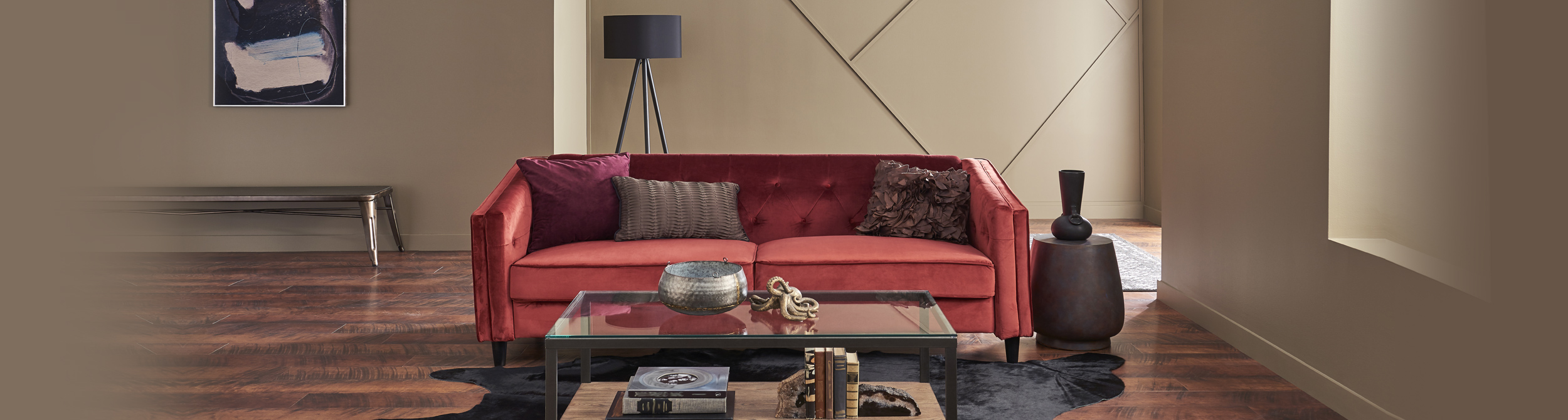 Living room with a red sofa