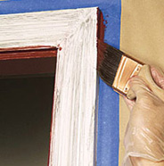 Paint edge of trim.