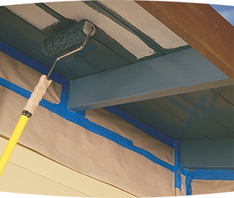Painting exterior deck underside with extension roller