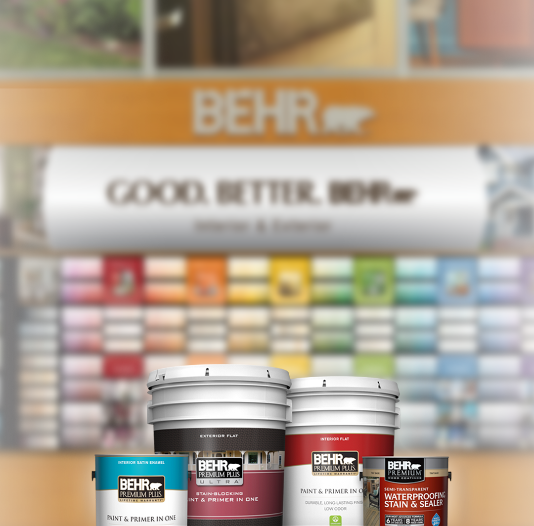 Behr paint cans with color palette in the background