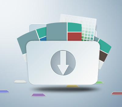 A graphical representation of a folder with arrow pointing down and over flowing are several images of color chips and palettes.